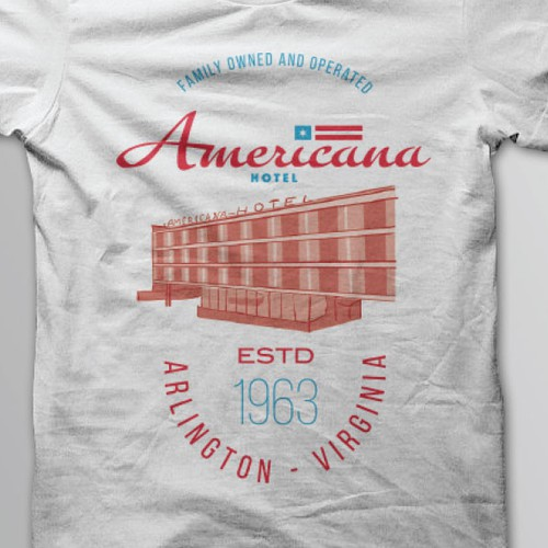 Americana Hotel Tshirt Design
