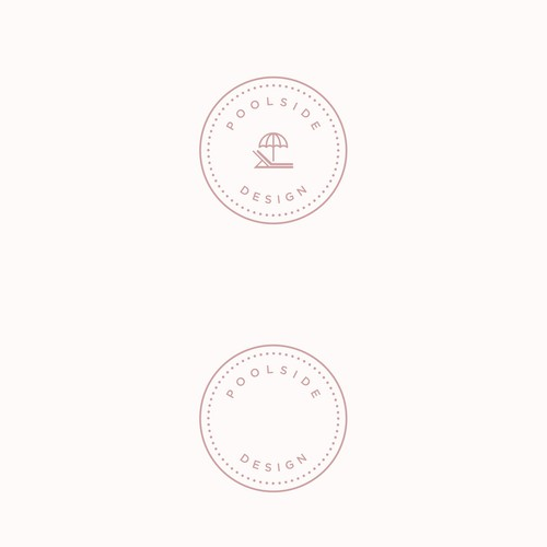 Create a modern logo with pale pastel colors for a poolside furniture company
