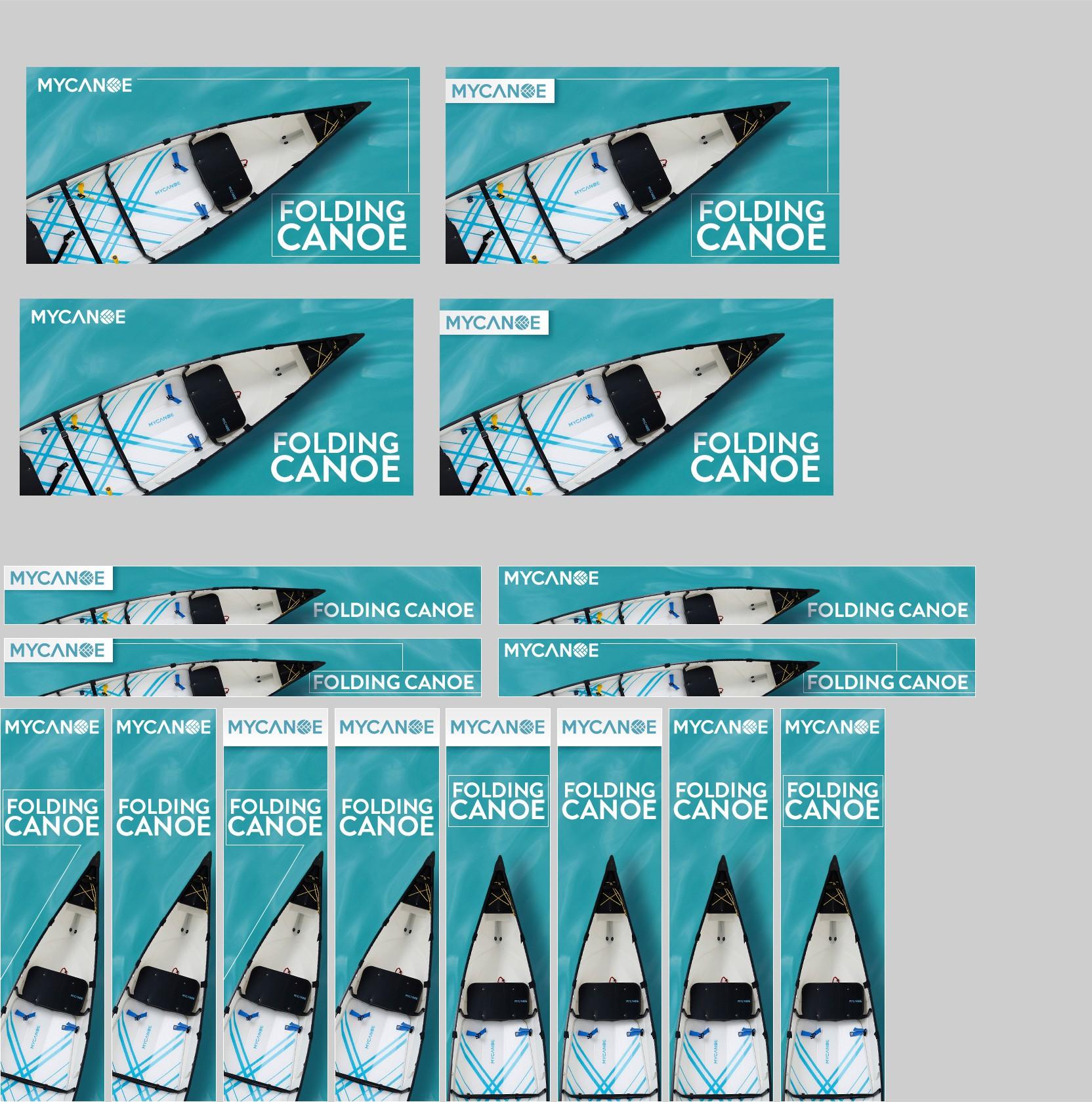 Two banner designs for Google remarketing ads (folding canoe - MYCANOE)