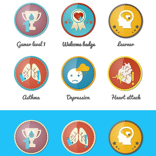 GAME BADGES DESIGNS - design the reward badges for a health game