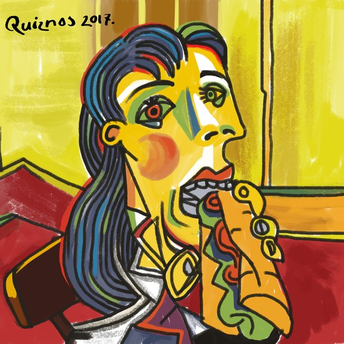 Picasso painting of quizznos toast