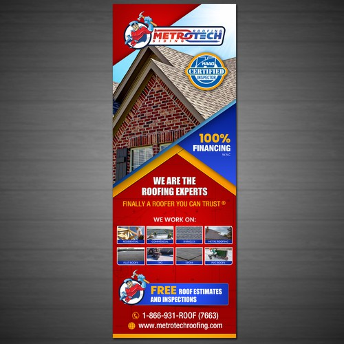 Trade Show Roofing Banner for METROTECH Roofing Corp $135