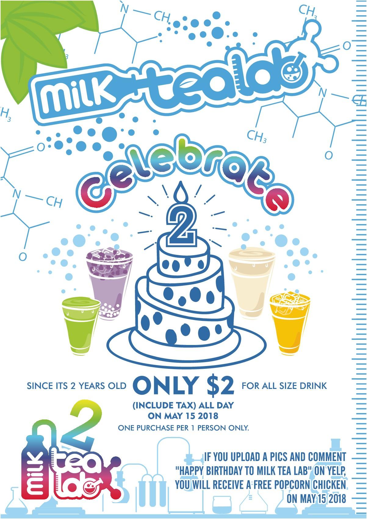 milk tea lab happy birthday poster