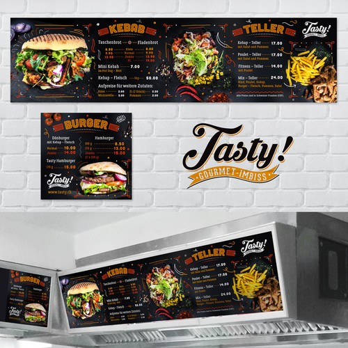 Menuboards for a high quality take away burger restaurant