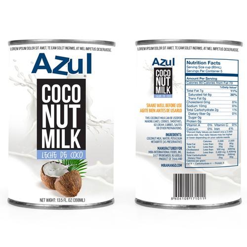 Coconut milk can label design