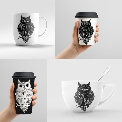 The hand-drawn sketch of an owl for the design of coffee mugs.