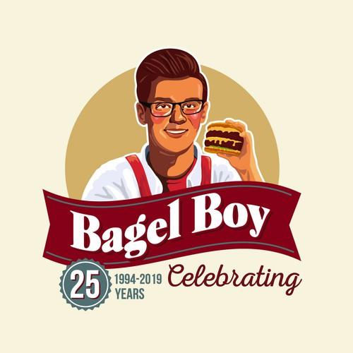 Fun Retro logo for Bagel Boy - contest participation