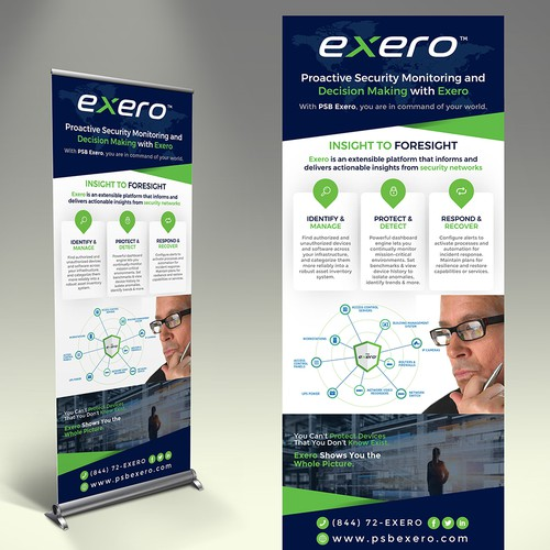 Design a retractable banner that will go to decision-makers. Competent & Sophisticated