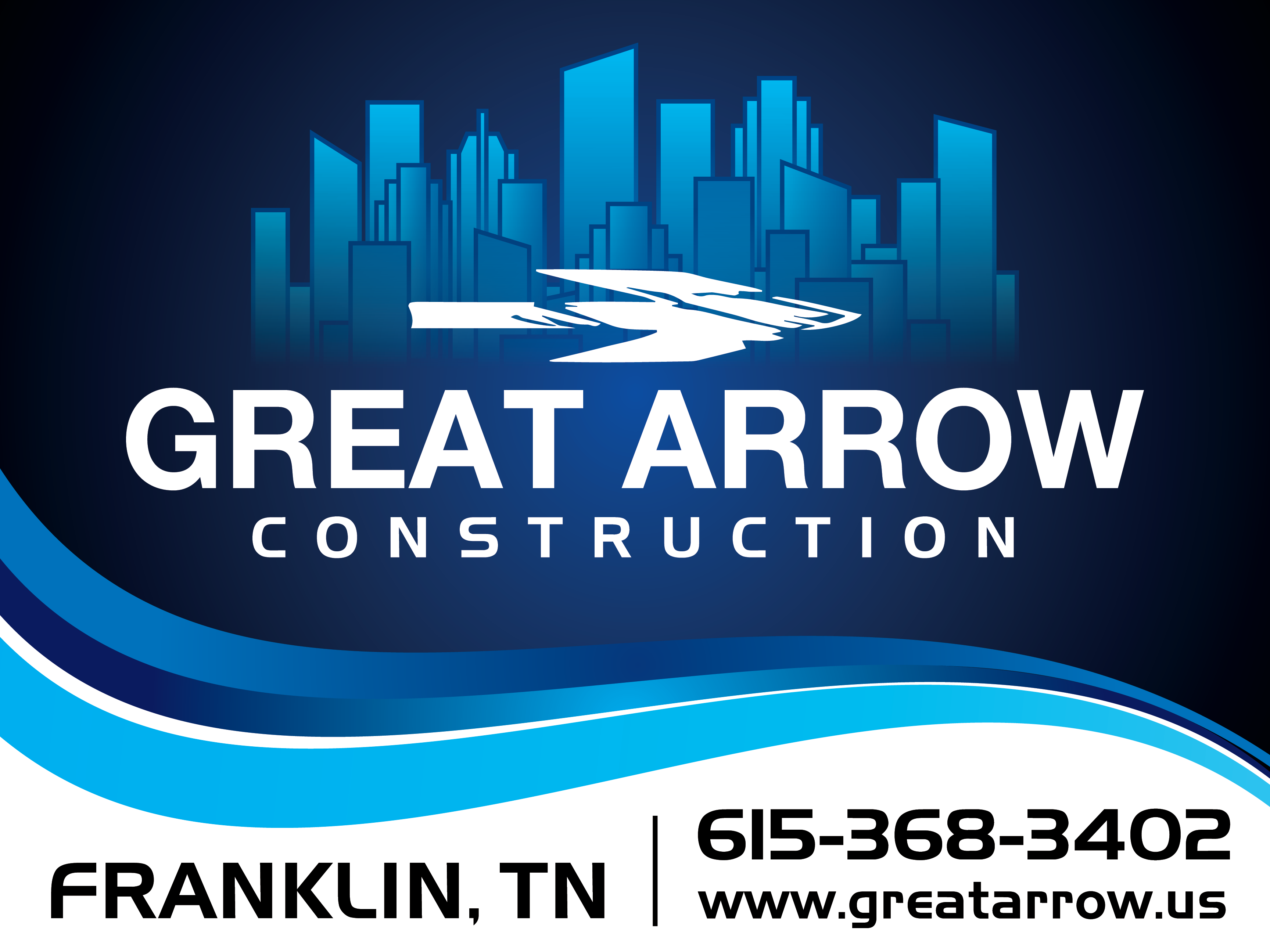 Create eye catching project sign for Great Arrow Construction.