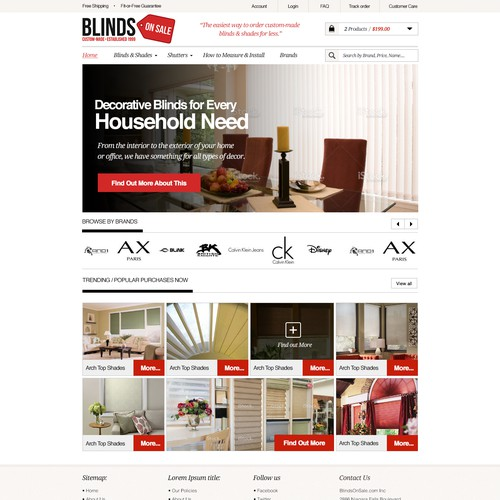 Homepage Design & Ongoing One-on-One Work with Online Blind Retailer