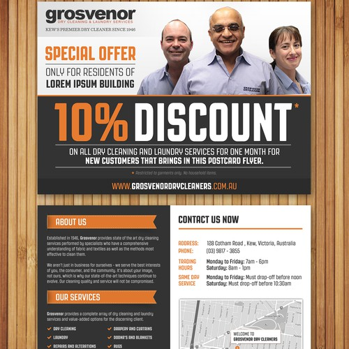 Dry Cleaner postcard-size flyer