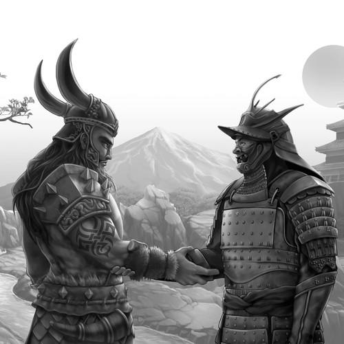 A Viking Warrior and Samurai (B/W version)