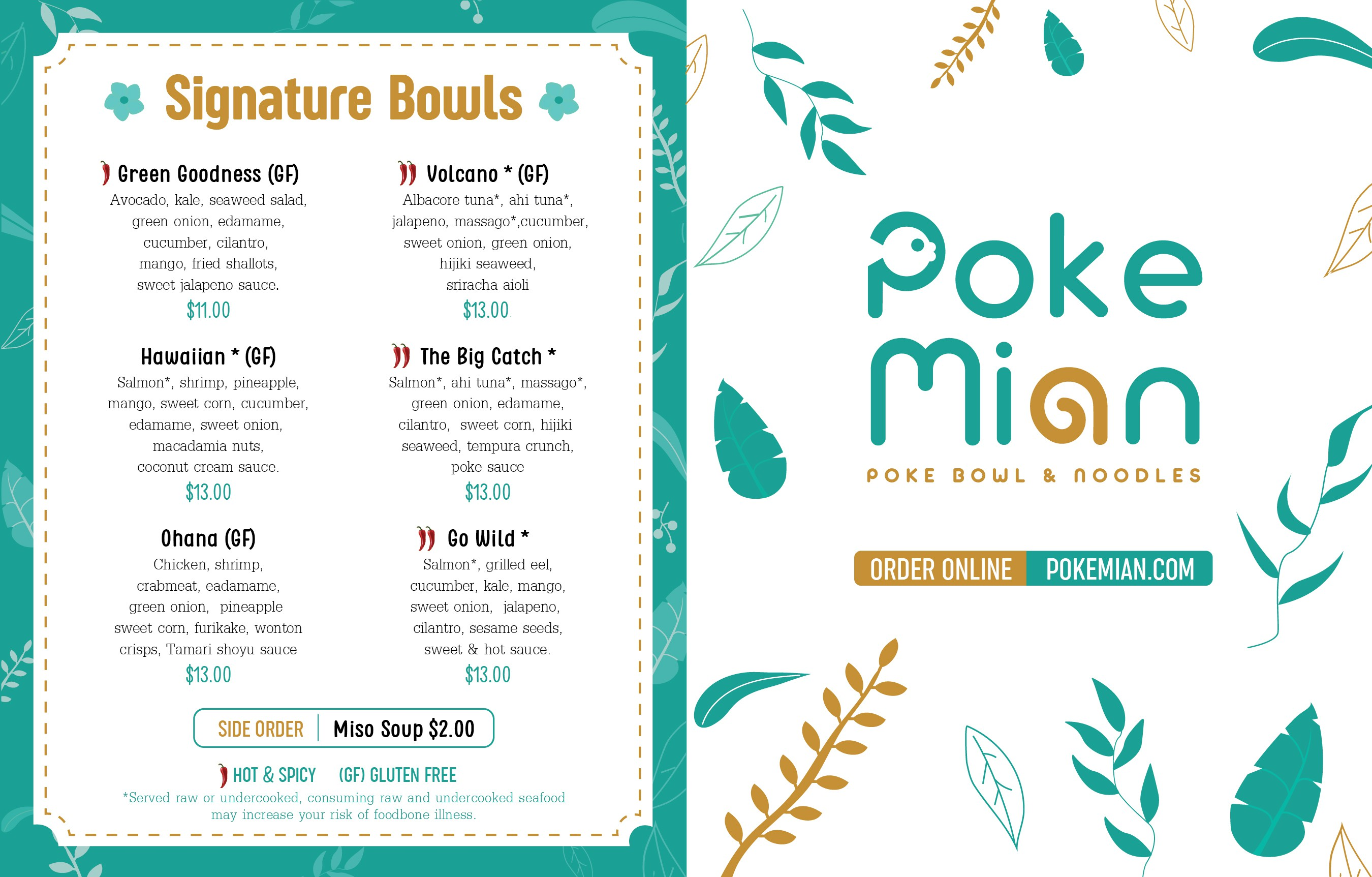 Design modern Hawaiian theme to go menu