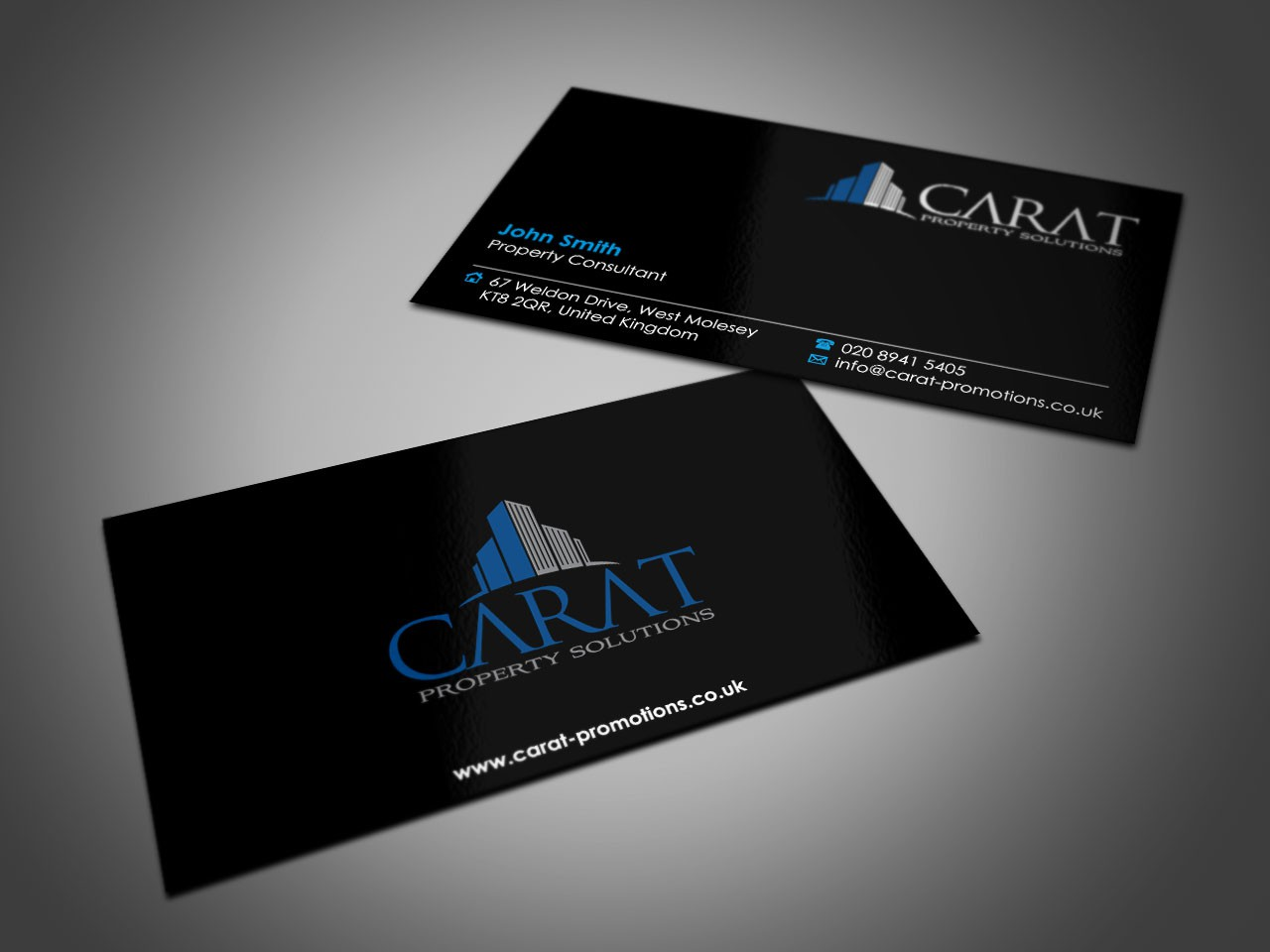 Help Carat Property Solutions with a new logo and business card, to be sophisticated and elegant