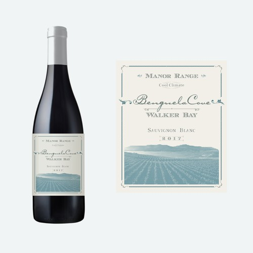Elegant label for Benguela Cove wine bottle