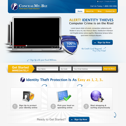website design for Anti Identity Theft and Anonymous Shopping Website