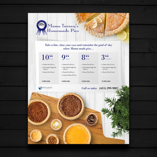 Flyer for Mama Turney's Homemade Pies