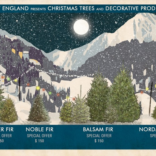 Vintage-Inspired Winter Christmas Tree Landscape