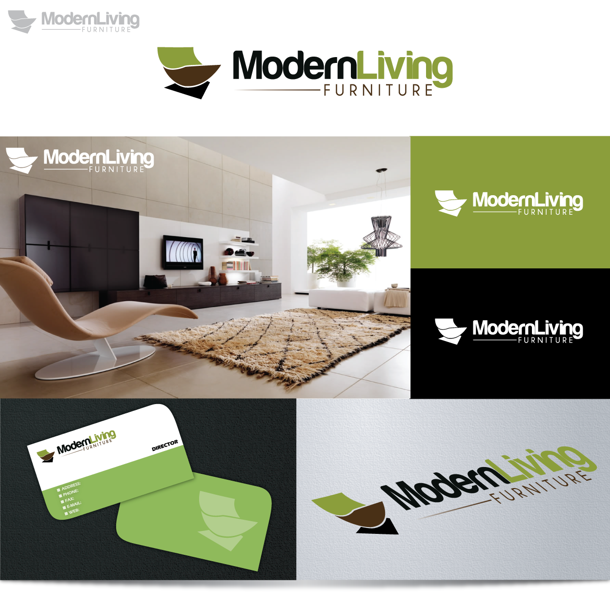 logo and business card for Modern Living Furniture