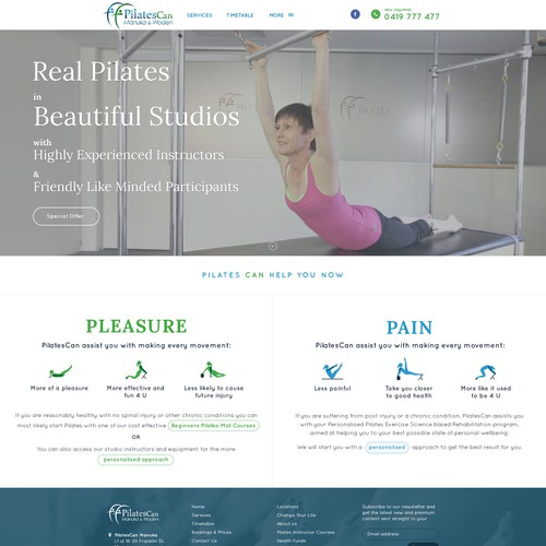 Simple landing page for PilatesCan