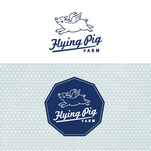 An unique pig logo with an organic look