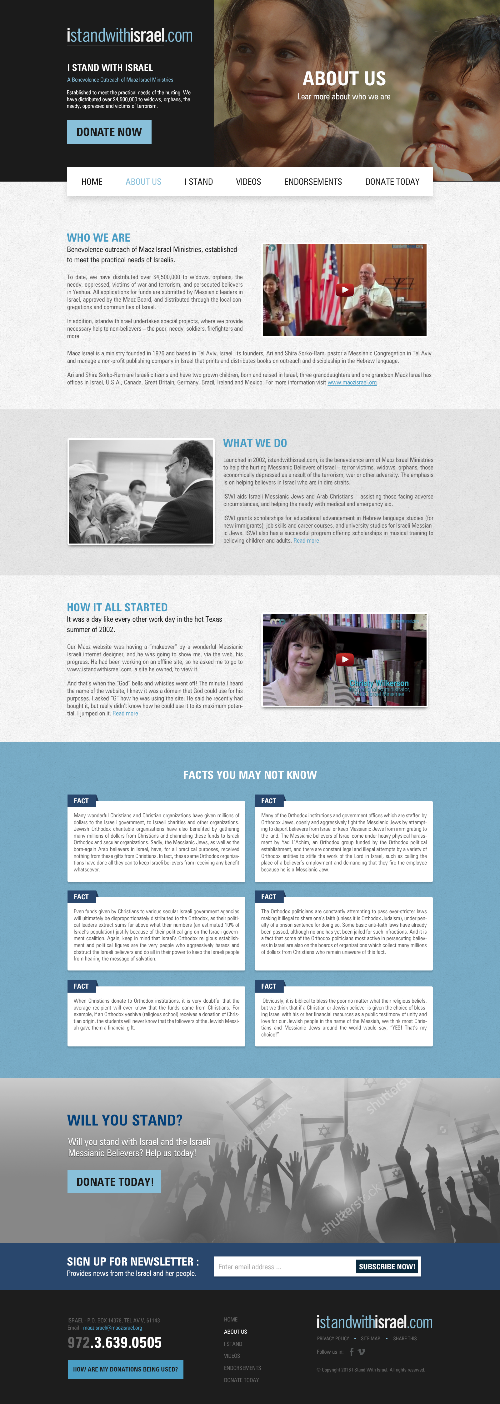 Subpages Webdesign for I Stand with Israel