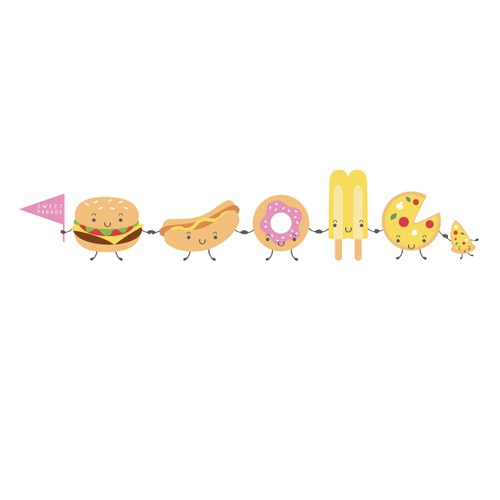 Create a playful design with the theme Cartoon Junk Food!