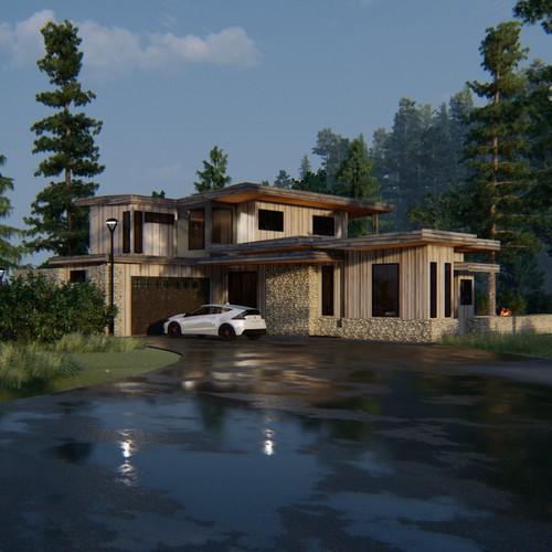 Rustic contemporary modern lake house design