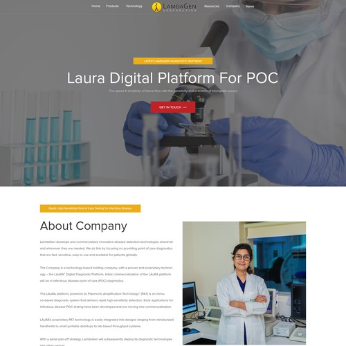 Design a professional website for a disease detection technology company