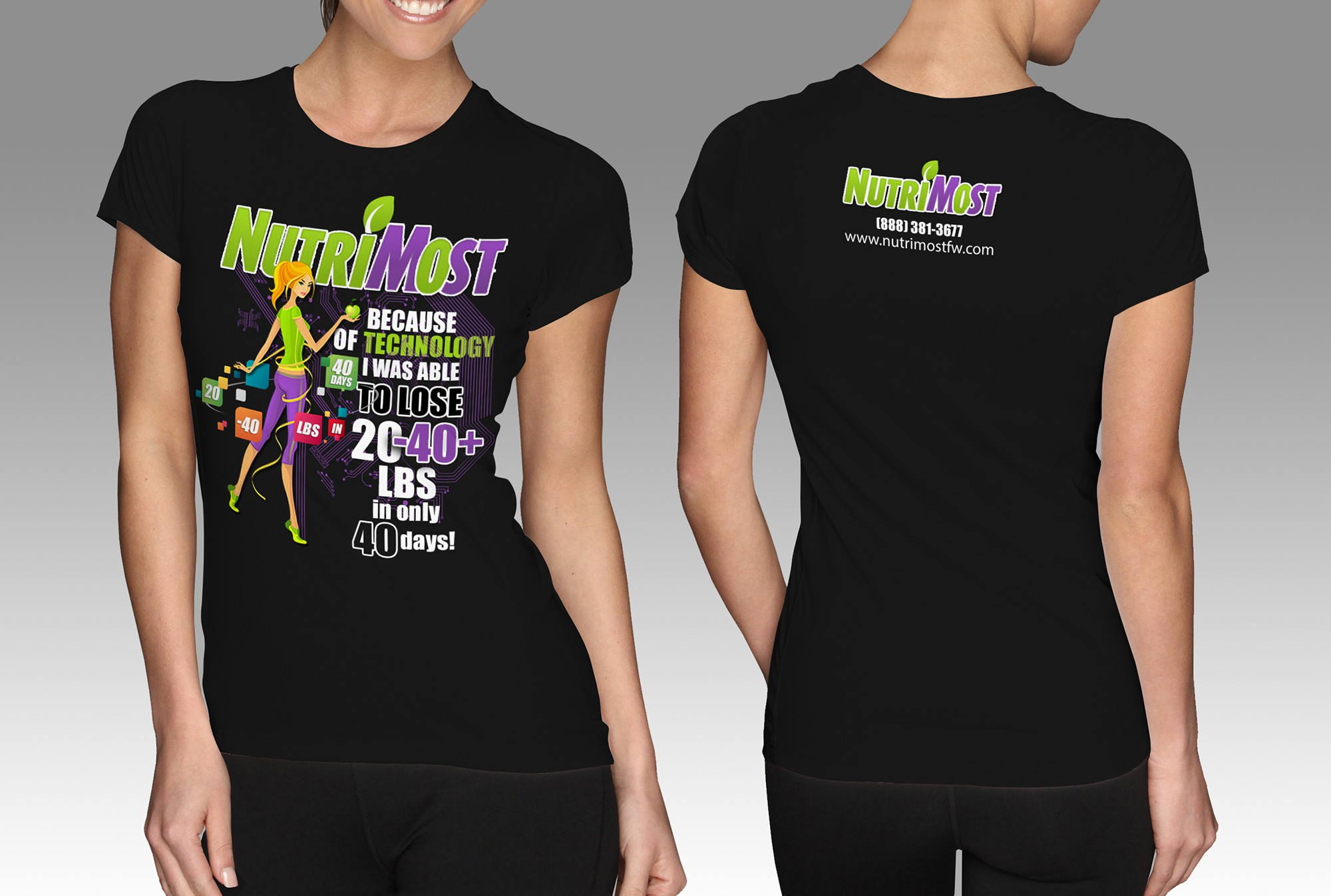 Design catchy tshirt for technology based weight loss program where people can lose 20-40+ lbs in