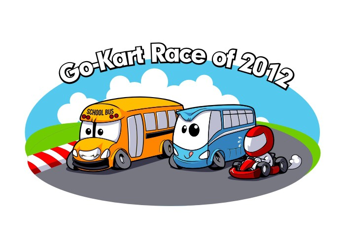 Create a fun t-shirt for our company go-kart outing!!!