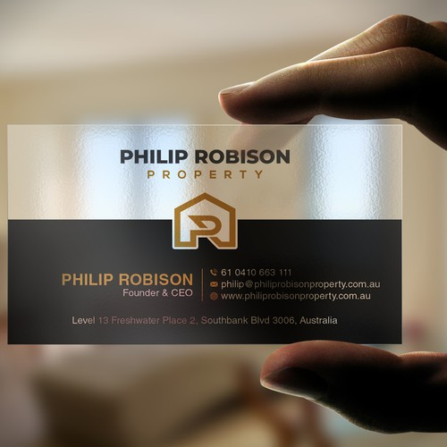 Transparent business card for boutique property business