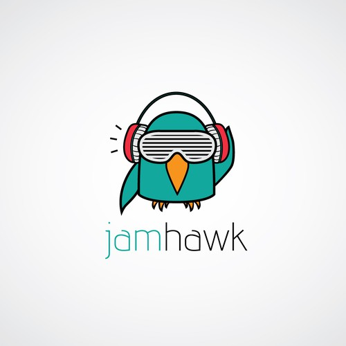 Fun, young logo for a new music discovery service called jamhawk!