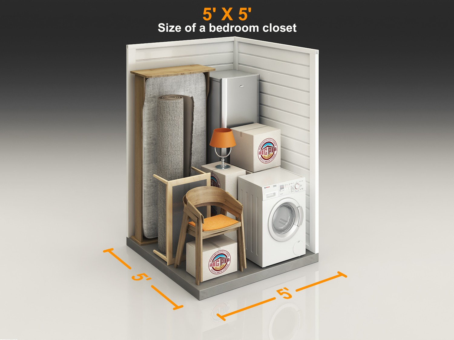 Self Storage Mini Storage 3D Layout with packing items