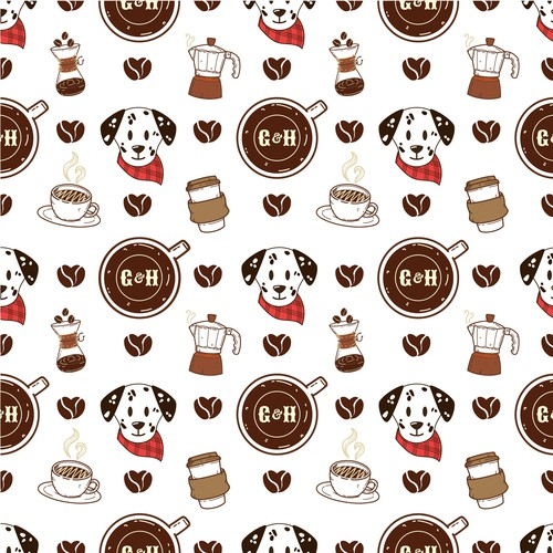 coffee and dog Pattern