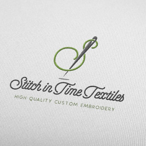 hipster logo for fashion company starting off with custom embroidery.
