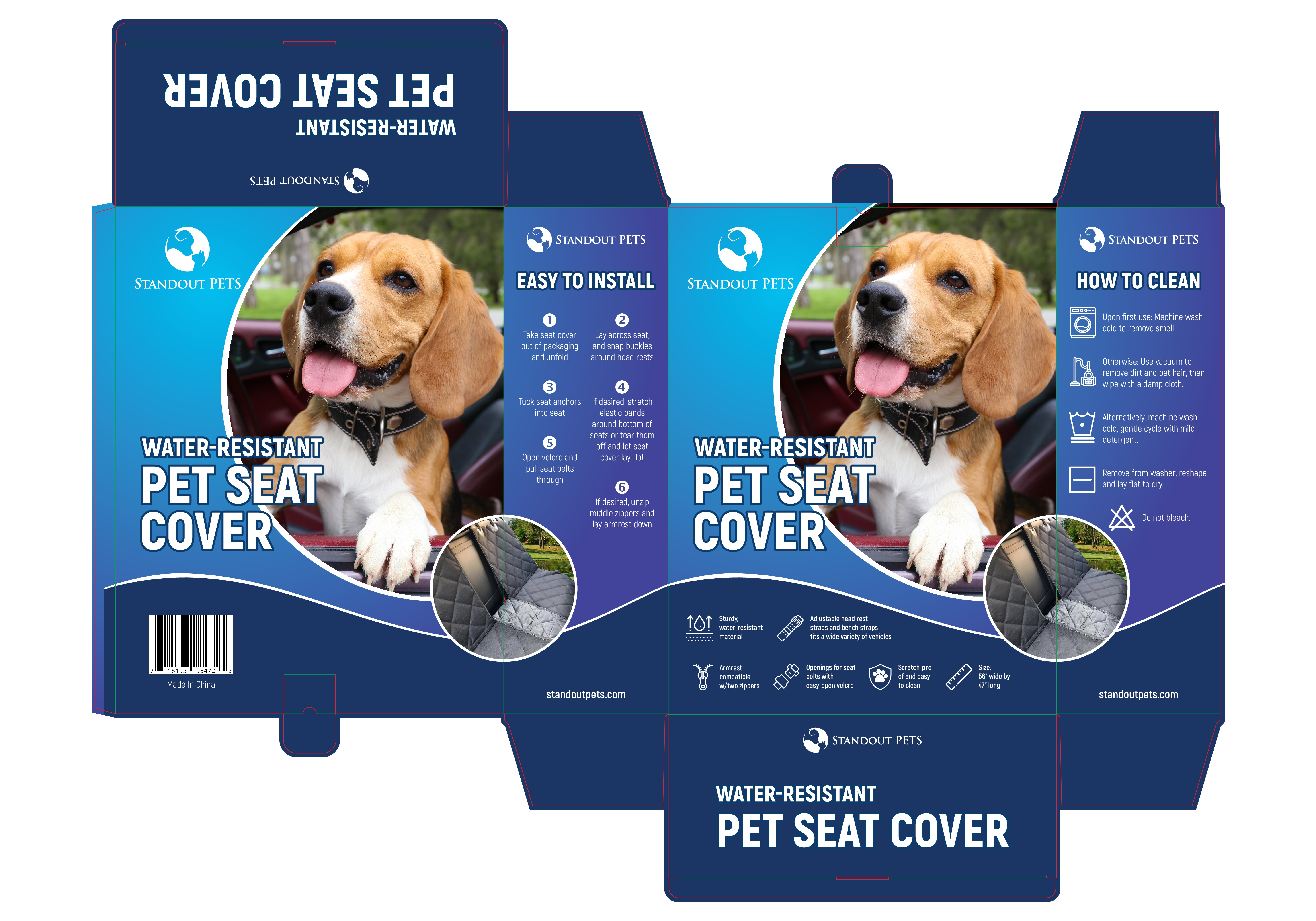 Standout Pets Seat Cover Box Packaging