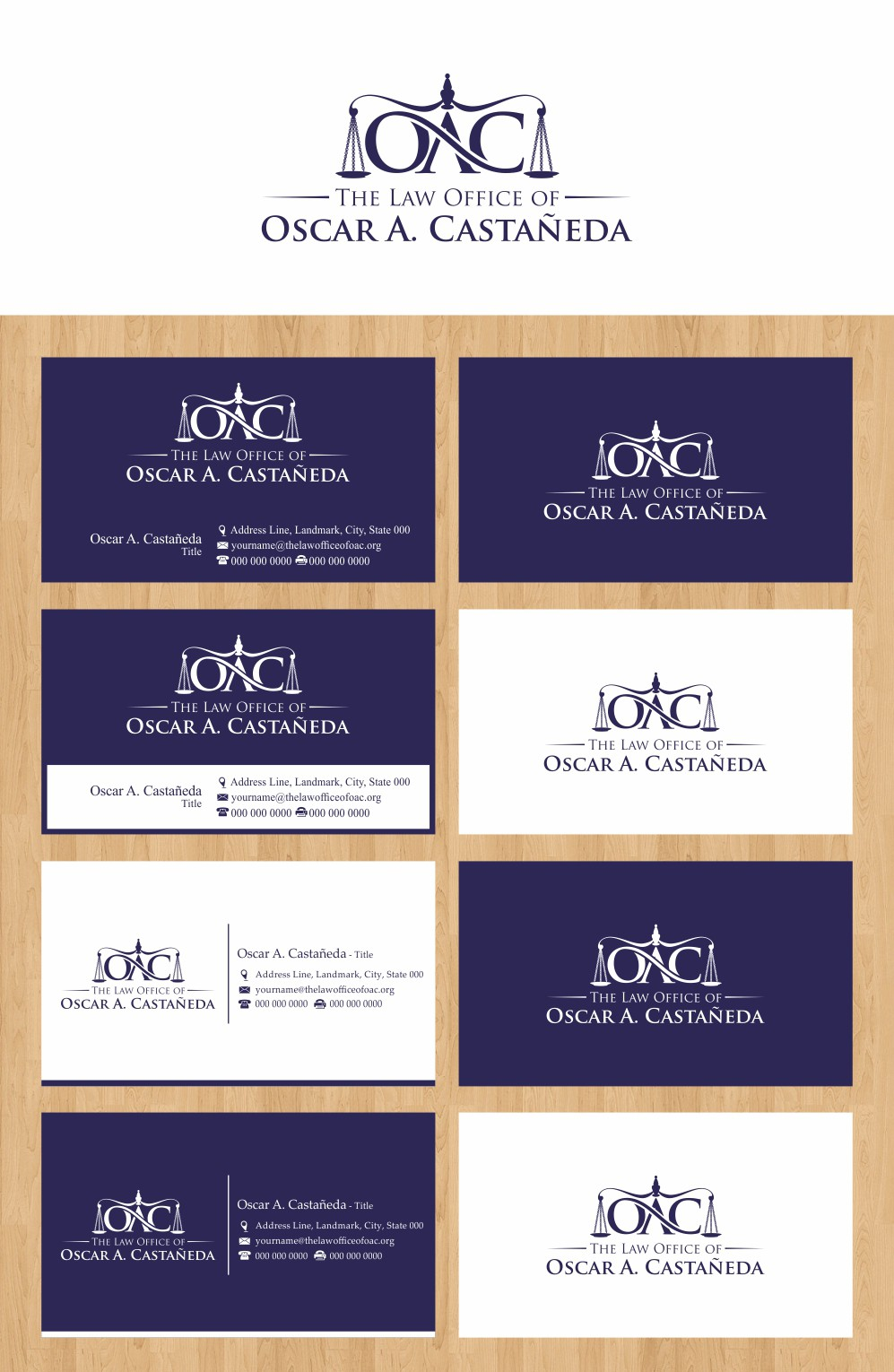 The Law Office of Oscar A. Castañeda.  Emphasis on the initials O.A.C. needs a new logo and business card
