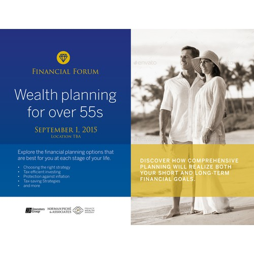 Wealth seminar postcard invite