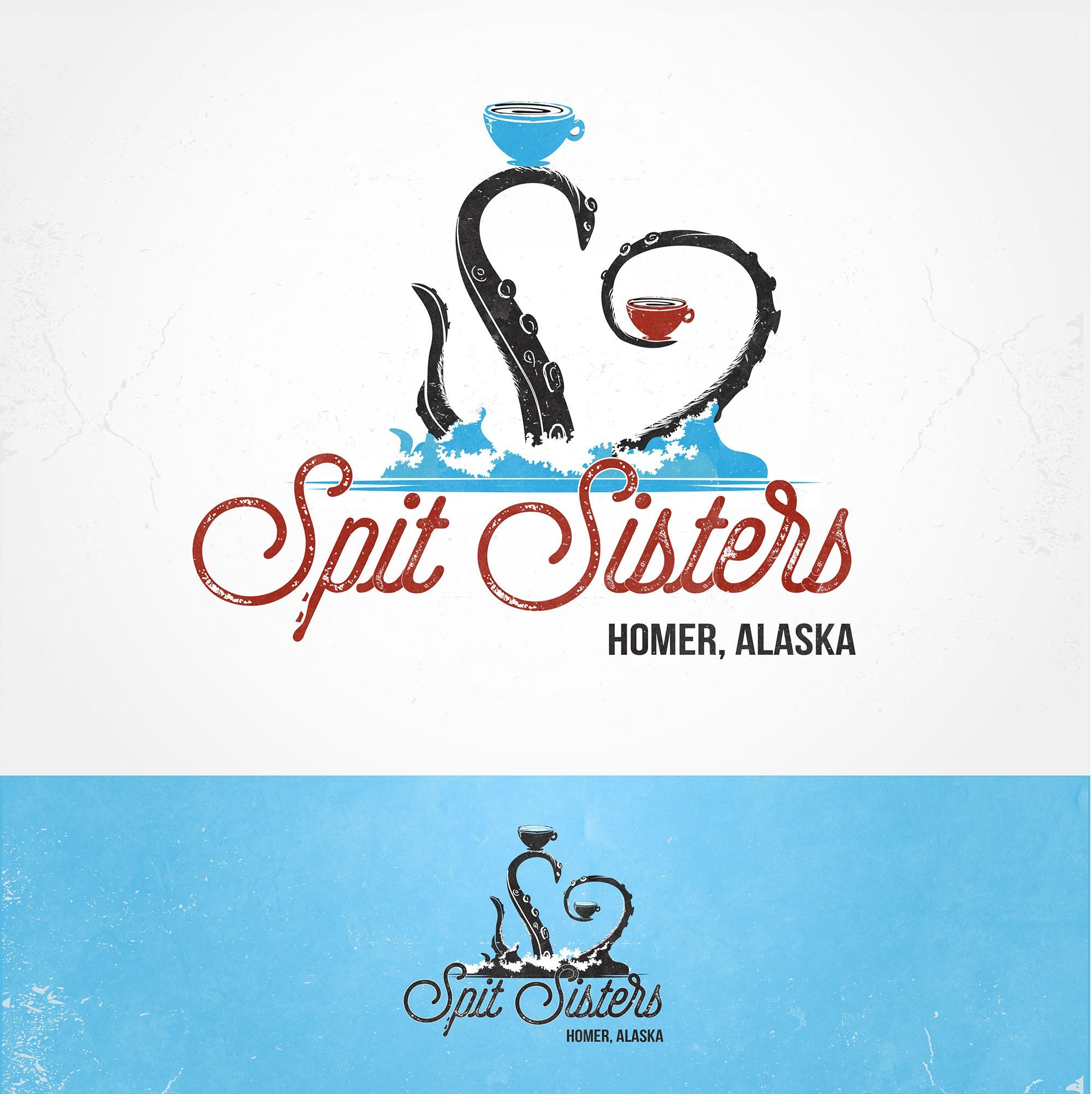 Create a funky coffee shop logo for a Homer Alaska company