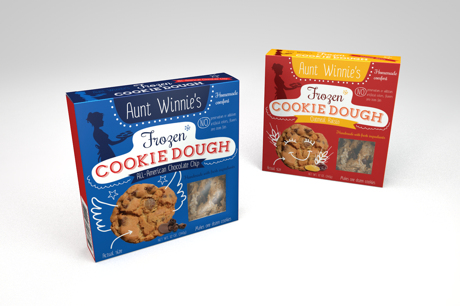 Create a commercial package for frozen, handmade cookie dough
