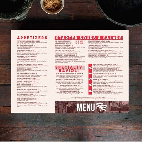 Red Rocks Cafe menu