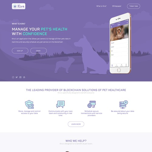 Landing page for Vet App design concept