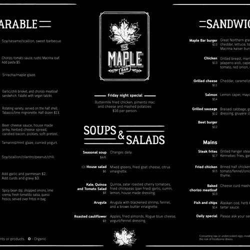 Practical bar menu.