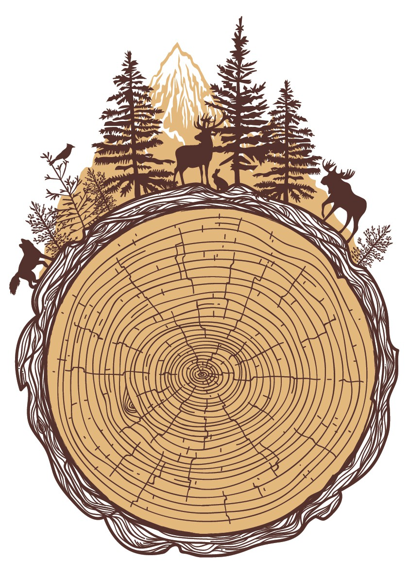 TREE RINGS w/ nature and animals surrounding