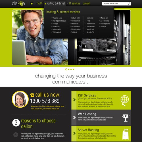 Create the next website design for Delion