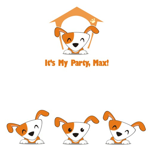 Create a playful fun illustration for Max the dog