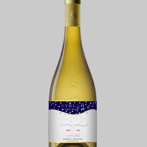 Design a top wine label for a new night harvest white wine - Stelalr