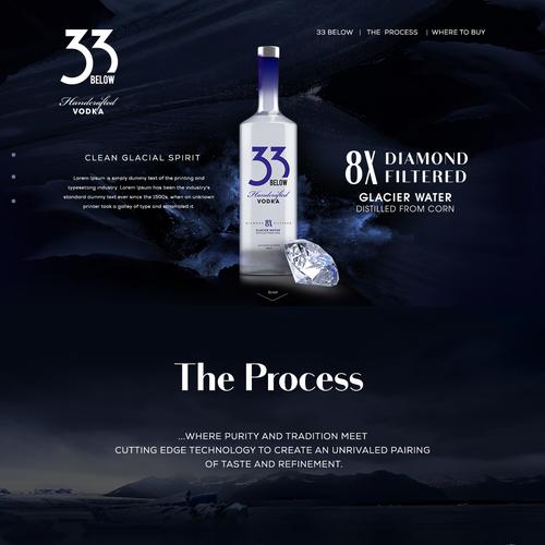 Sophisticated landing page for vodka drink