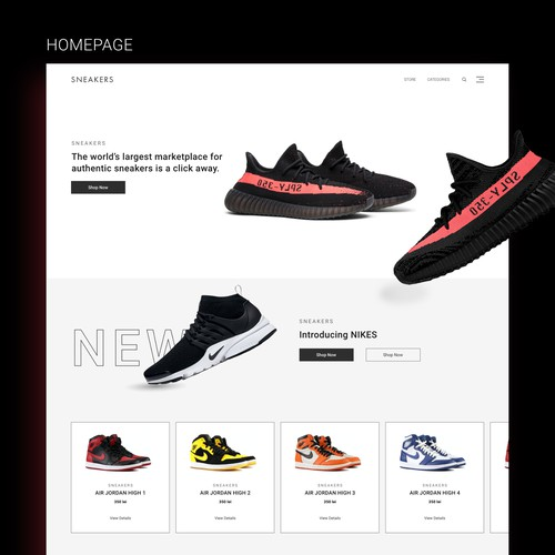 Sneakers Online Store - Minimalist Design